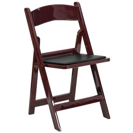chaise pliante de la collection hercules de flash furniture en resine acajou