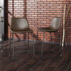 Kitchen Counter Stools Narrow Island Walker Edison Brown Faux Leather Dining