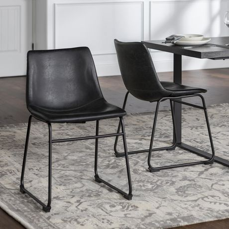 kitchen chairs how to remodel a on budget walker edison black faux leather dining walmart canada