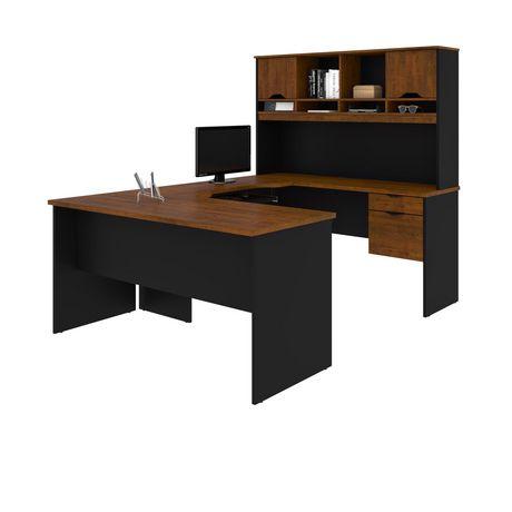 bestar innova u shaped workstation in tuscany brown black