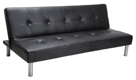 all leather sofa bed little chair mainstays faux black walmart canada image 1 of