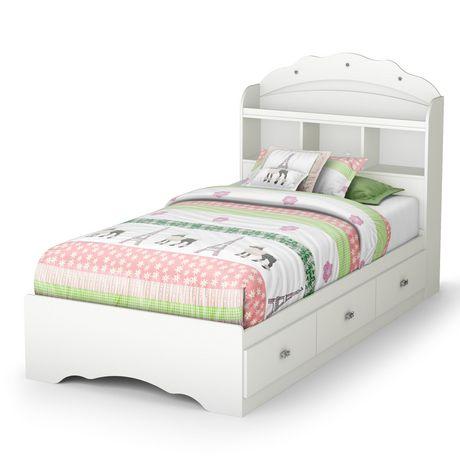 ensemble lit rangement simple avec tiroirs et tete de lit bibliotheque 39 tiara blanc solide de meubles south shore