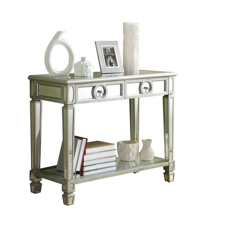 monarch specialties mirrored 38 sofa console table with drawers futon beds direct reviews brushed silver/mirror ...