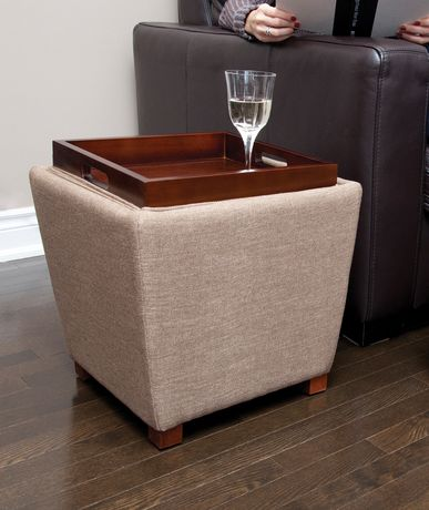 Tapered Fabric Storage Ottoman With Tray Tan Walmart Ca