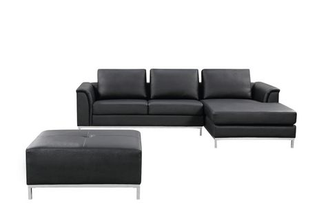 velago ollon modern right facing genuine leather sectional sofa set