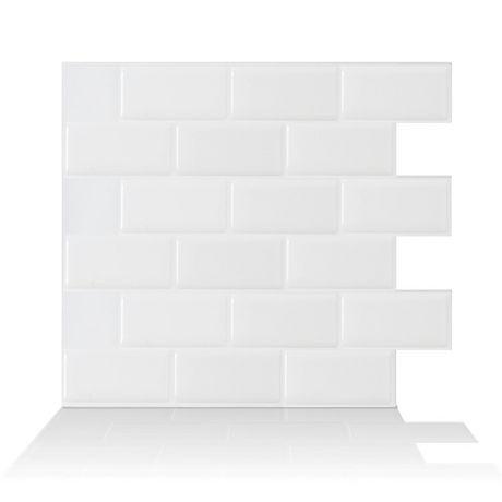 subway white 10 95 in w x 9 70 in h peel and stick mosaic self adhesive wall tile backsplash