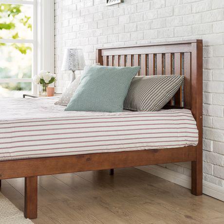 plateforme de lit en bois deluxe 14 pouces de zinus avec tete de lit vieux fini couleur espresso