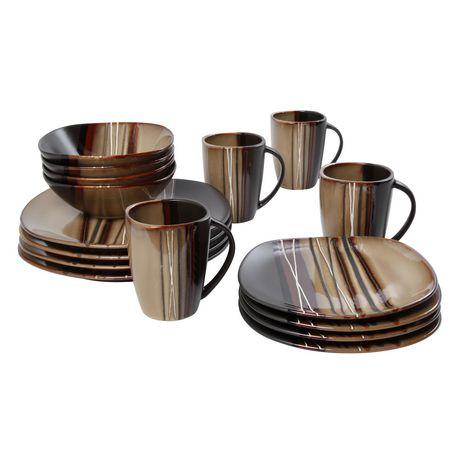 hometrends 16 Piece Bazaar Brown Dinnerware Set