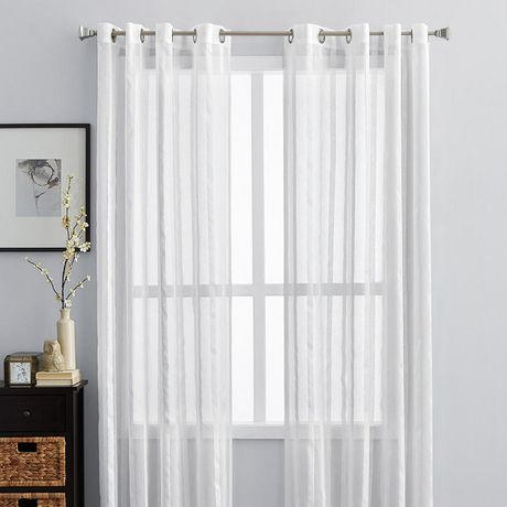 hometrends sheer white vertical striped window panel