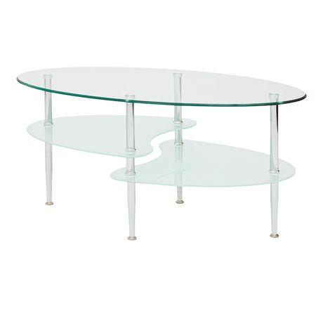 manor park table basse de verre ovale double vague