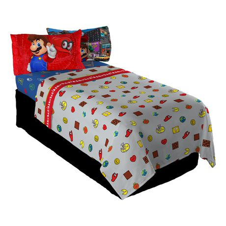 ensemble de draps pour lit 1 place mario caps off