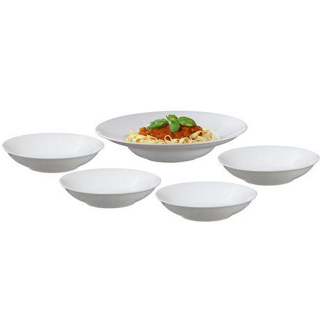 service a pates bianco 5 pieces en porcelaine blanche