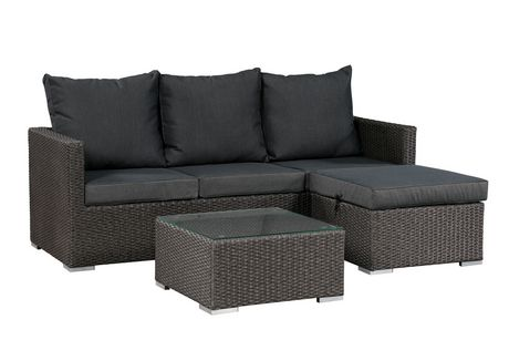 cushion sofa set oakland sofas patioflare evan without storage dark grey wicker with cushions walmart canada