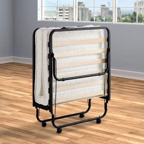 lit pliant avec base en metal robuste surelevee coup de primo international noir lit pliant simple avec matelas matelas en mousse de polyurethane