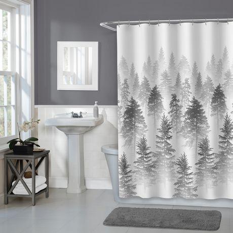 rideau de douche en tissu aspen home trends 178 cm x 183 cm 70 po x 72 po gris