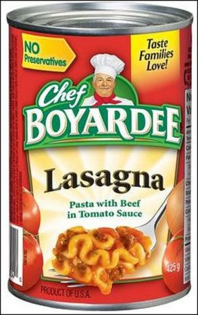 Chef Boyardee Lasagna Pasta with Beef In Tomato Sauce