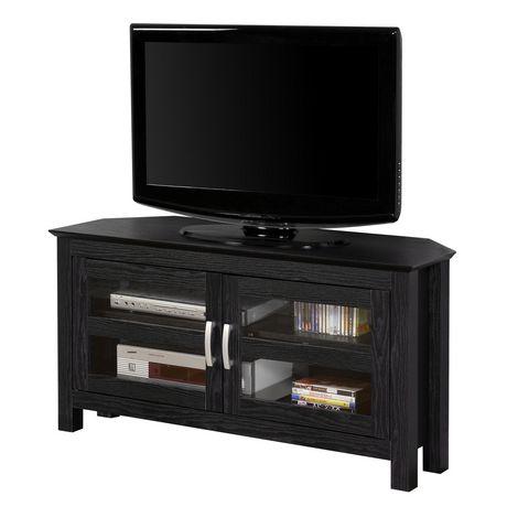 manor park meuble de televiseur en coin de bois avec portes de verre plusieurs couleurs possible