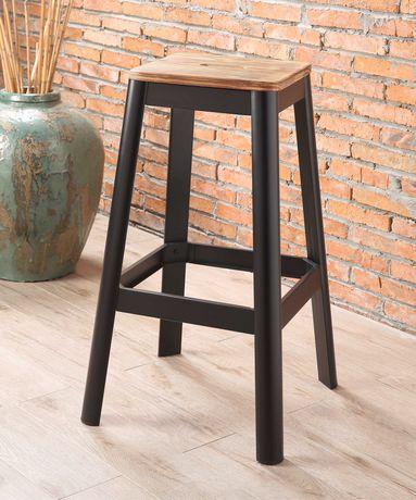 tabouret de bar jacotte acme fini bois naturel et metal noir