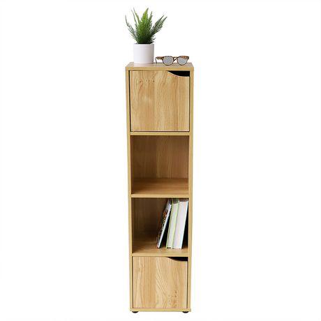 etagere de rangement en bois avec portes 4 cubes naturel
