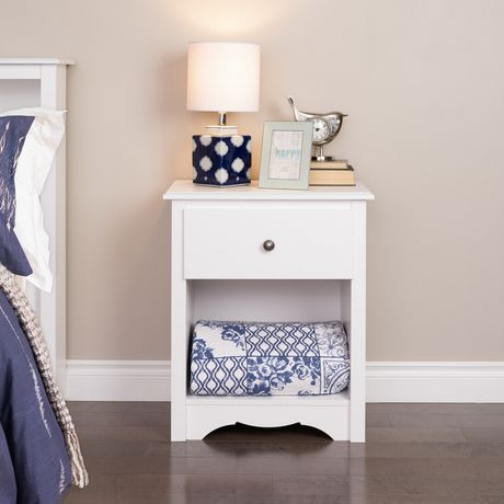 Prepac Monterey 1 Drawer White Tall Nightstand Walmart Canada