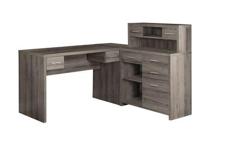 bureau en forme de style l monarch specialties en vieux bois en taupe fonce