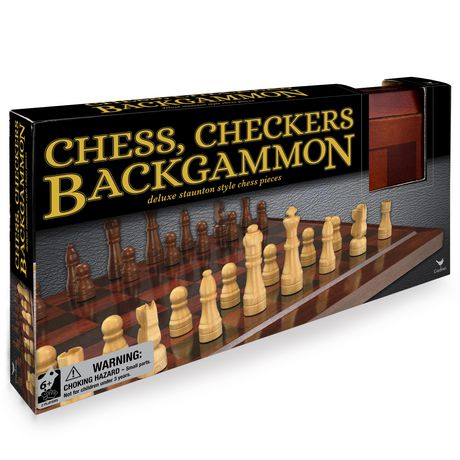 Wooden 3 Game Set Chess Checkers Backgammon Walmart Canada
