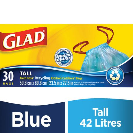 glad kitchen bags faucet replacement handle tie n toss catchers recycling blue garbage tall