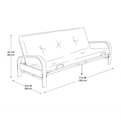 metal frame sofa bed handy living convert a couch sleeper dhp mainstays black arm futon with 6 full size mattress qty