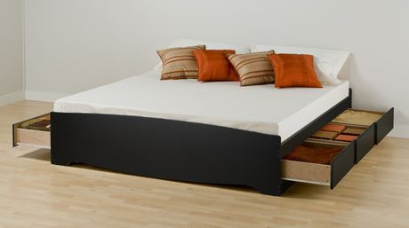 prepac king size platform storage bed with 6 drawers
