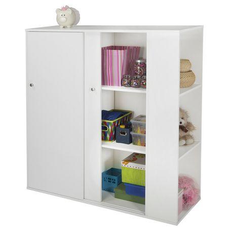 meuble de rangement avec portes coulissantes blanc solide collection storit de meubles south shore