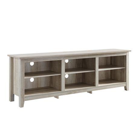 console de rangement support tv en bois rustique traditionnel 70 chene blanc