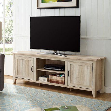 console de rangement centre de divertissement support tv rustique moderne 70 avec portes laterales et tablettes centrales lavis gris walmart canada