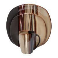 hometrends 16 Piece Bazaar Brown Dinnerware Set   Walmart ...