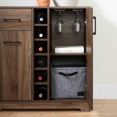 south shore meuble bar rangement pour bouteilles et coupes collection vietti