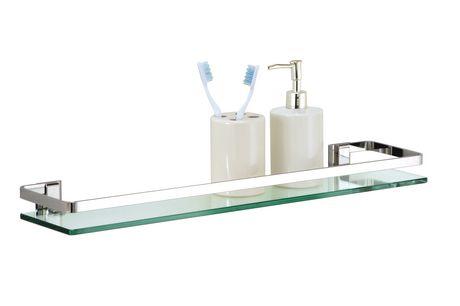 etagere avec rail en chrome et en verre