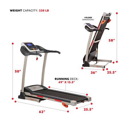 sunny health fitness tapis de course sf t4400