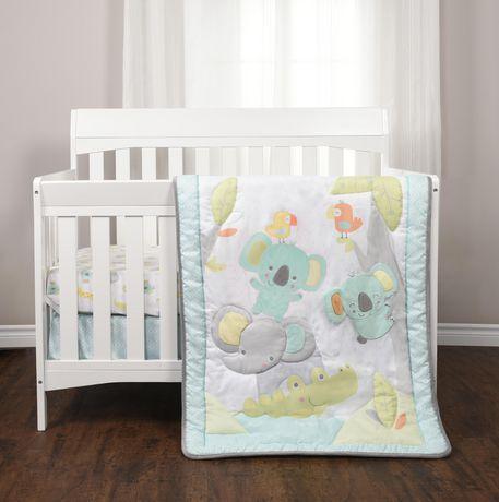 ensemble de 3 pieces pour lit de bebe gazouillis de la jungle