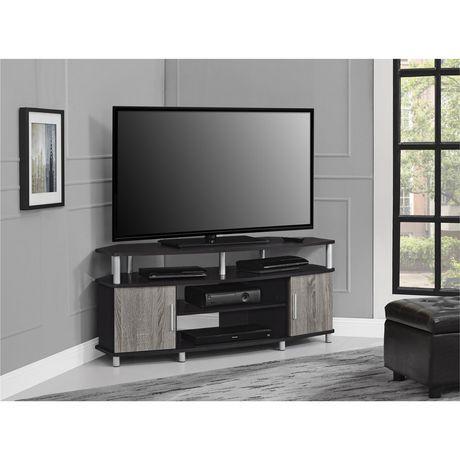 meuble d angle pour televiseur carson pour televiseurs jusqu a 50 po 127 cm cerise noir