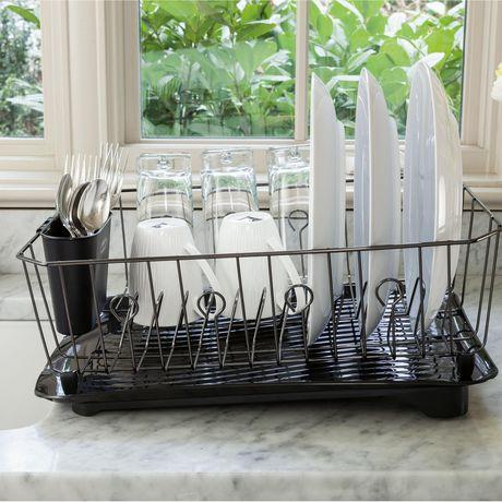 rubbermaid twin sink dish drainer black