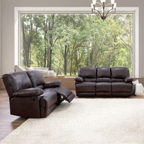 reclining sofa leather brown classic designs corliving lea 2pc chocolate bonded set