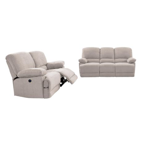 power recliner sofa canada large fabric corner bed corliving lea chenille 2pc and chair set walmart