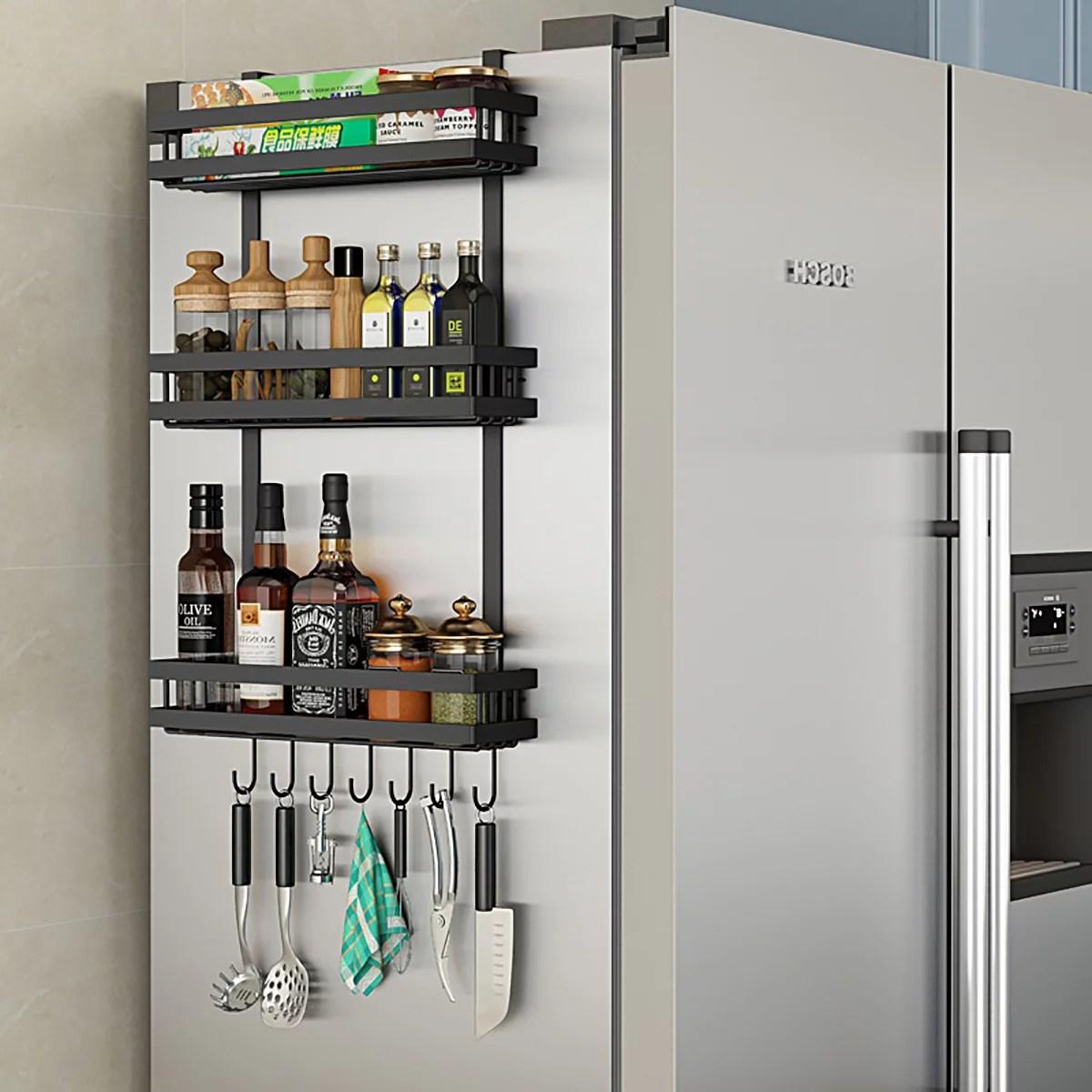 3 tier metal refrigerator side storage organizer rack fridge spice rack multi use refrigerator side shelf including 7 hooks walmart com