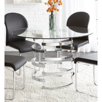 Steve Silver Tayside Round Glass Top Dining Table in Black ...