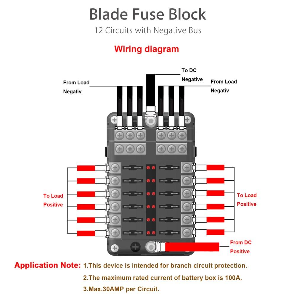 medium resolution of universal auto car 12 way blade fuse standard circuit holder box block dc 12 32v negative bus automotive walmart com