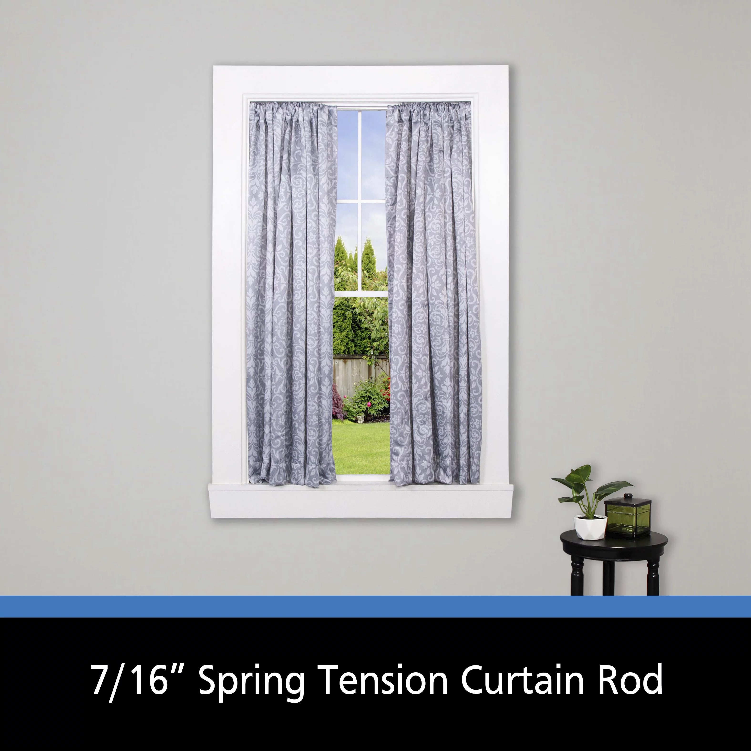 mainstays 18 28 in adjustable spring tension curtain rod 7 16 in diameter white
