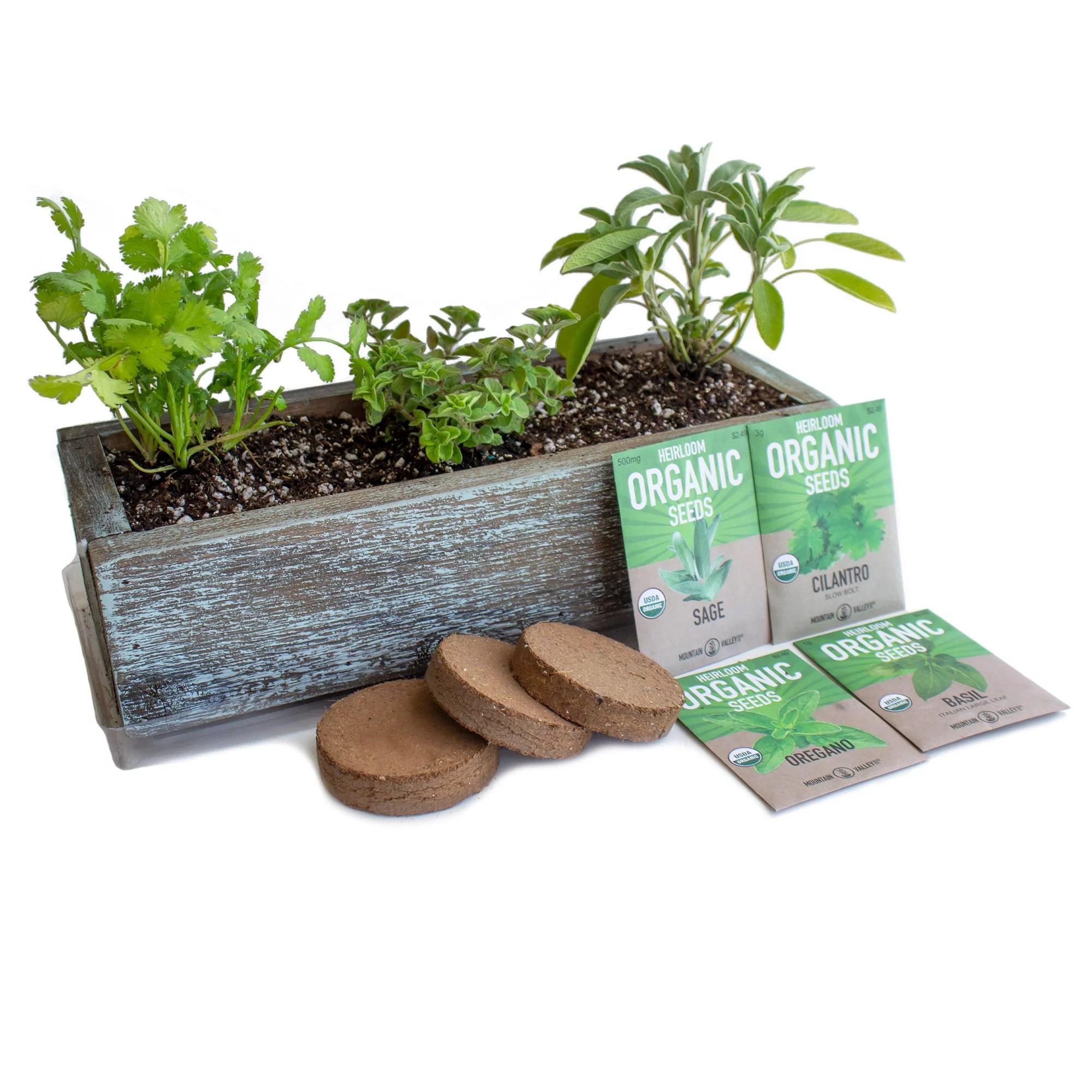 Culinary Herb Garden Kit With Reclaimed Barnwood Style Planter Aged Brown Grow Cooking Herbs Non Gmo Organic Seeds Basil Cilantro Oregano Sage Windowsill Herb Gardening Walmart Com Walmart Com
