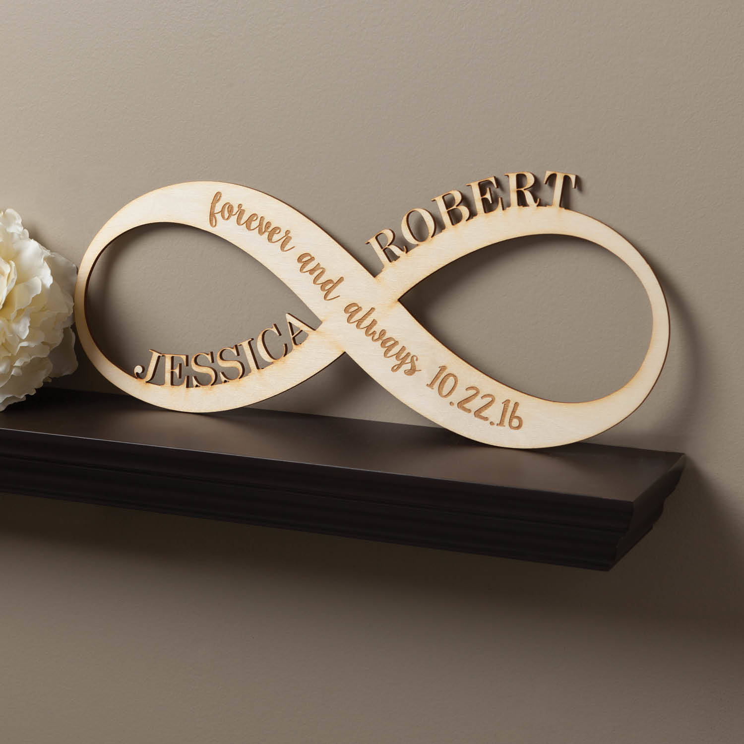 infinity sign personalized wood