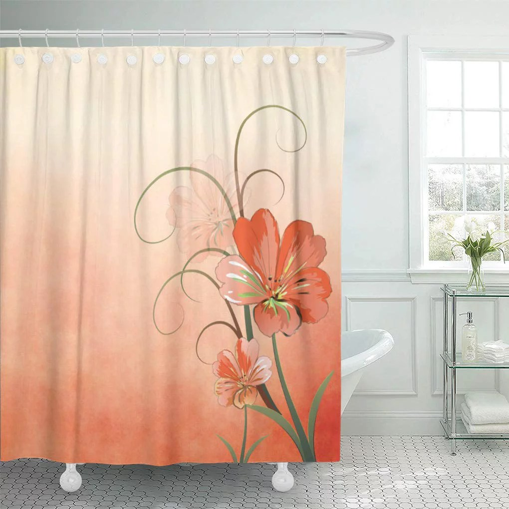 atabie watercolor girly abstract peach and green home classic chic shower curtain 60x72 inch walmart com