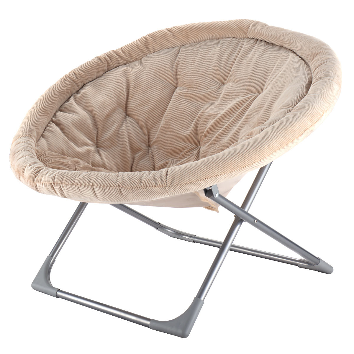 folding chair for living room stair elevator lift costway oversized large saucer moon corduroy round seat walmart com