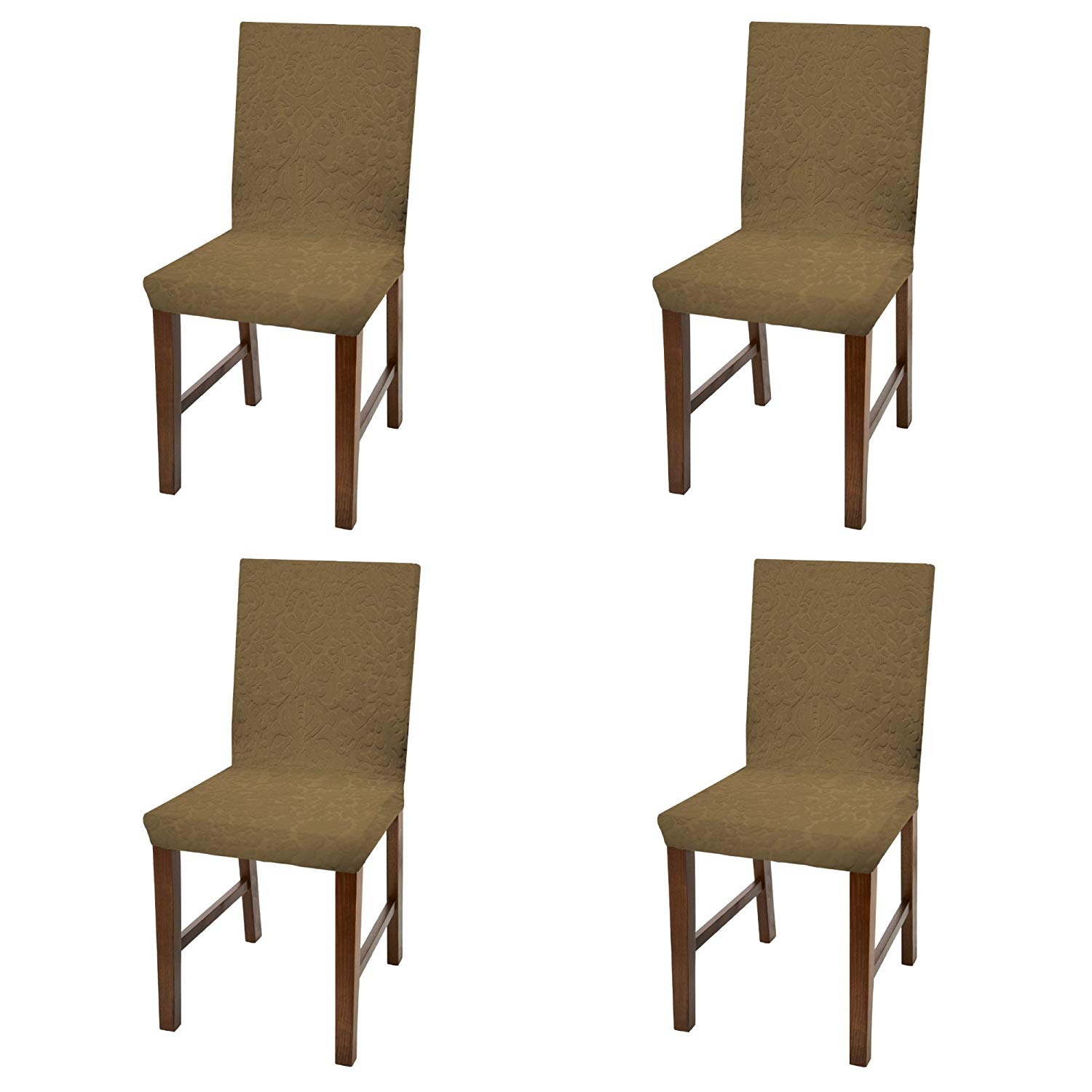 dining chair covers in store rocking babies r us linen luxurious damask cover form fitting soft parson slipcover camel set of 4 walmart com